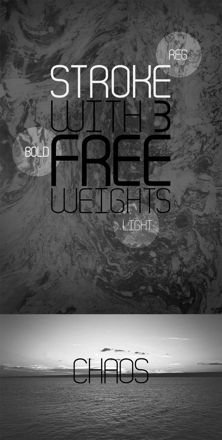 Stroke free font